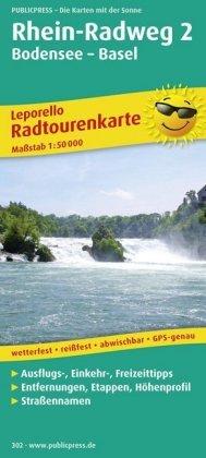 PUBLICPRESS Leporello Radtourenkarte Rhein-Radweg, 21 Teilktn.. Tl.2