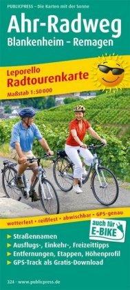 PUBLICPRESS Leporello Radtourenkarte Ahr-Radweg, Blankenheim - Remagen