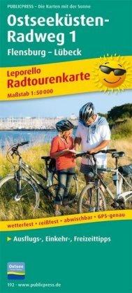 PUBLICPRESS Leporello Radtourenkarte Ostseeküsten-Radweg. Tl.1