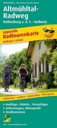 PUBLICPRESS Leporello Radtourenkarte Altmühltal-Radweg, Rothenburg o. d. T. - Kelheim