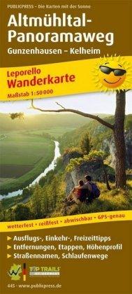 PUBLICPRESS Leporello Wanderkarte Altmühltal-Panoramaweg, Gunzenhausen - Kelheim