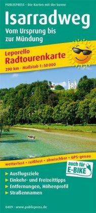 PUBLICPRESS Leporello Radtourenkarte Isarradweg, Von der Quelle bis zur Mündung