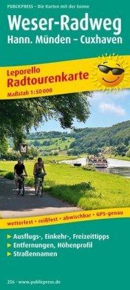 PUBLICPRESS Leporello Radtourenkarte Weser-Radweg. Hann. Münden - Cuxhaven